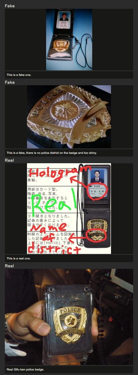 Fake and real NPA police badges.