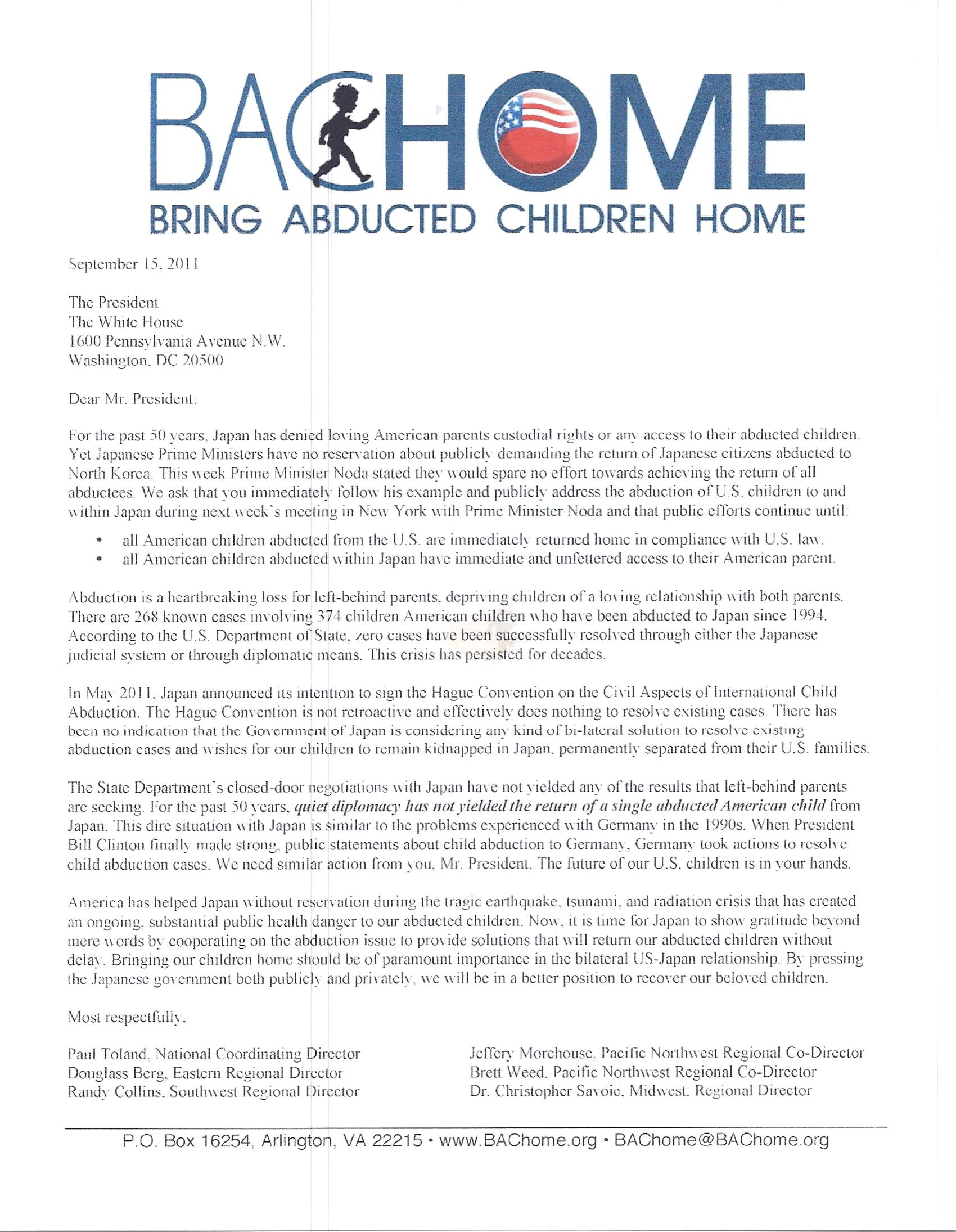 It Bachome: President Obama Addresses Japan Child Abduction Issue How To  Address A Letter Japan