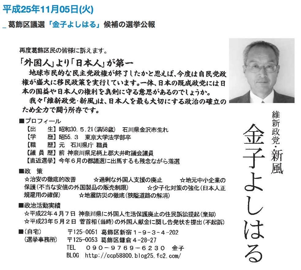 KanekoYoshiharuPolicies2013
